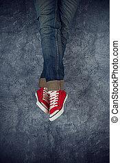 Legs on grunge background
