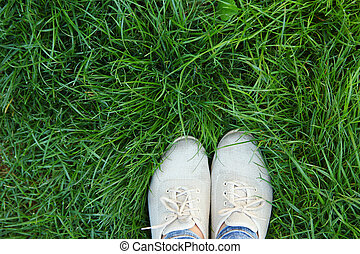 legs shoes on the green grass