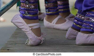 legs teen girl in ballet flats slow motion video