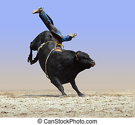 Legs Up - Cowboy Falling off a Bull isolated with path