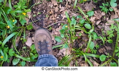 legs walking on footpath at spring forest - legs in trekking...