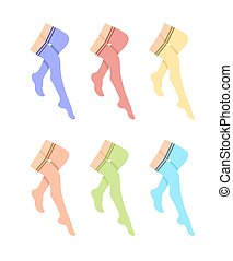 Legs with pantyhose set. Flat style illustration.