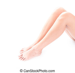 Legs woman on white background for skin care and body beauty product concept