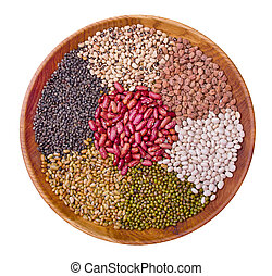 Legume collection over white background