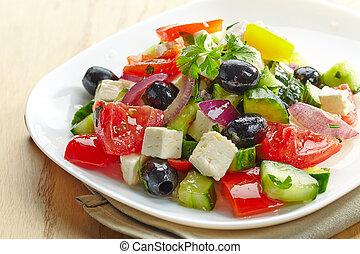 legume fresco, salada, com, queijo, e, azeitonas