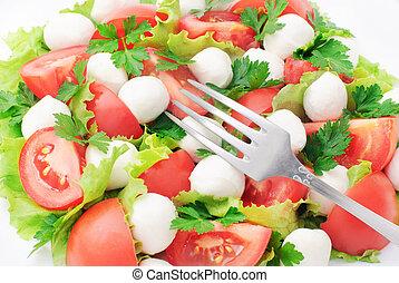 legume fresco, salada, com, tomatos, queijo, mozzarella, e, verdes