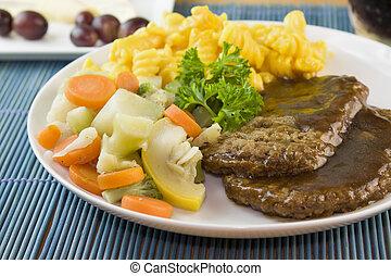 legumes, bife, salisbury