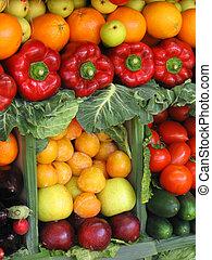 legumes, coloridos, frutas