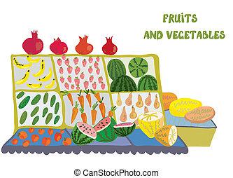 legumes, contador, -, ilustração, frutas, mercado