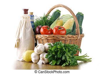 legumes, e, cesta feito vime