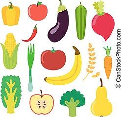 legumes, e, fruta, jogo, para, smoothie, hipster, drink., apartamento, style.