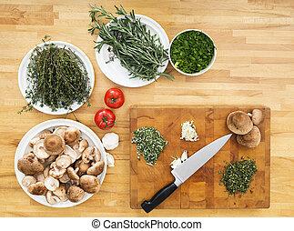 legumes, e, tábua cortante, ligado, contador cozinha