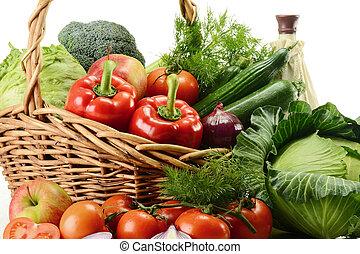 legumes, em, cesta feito vime