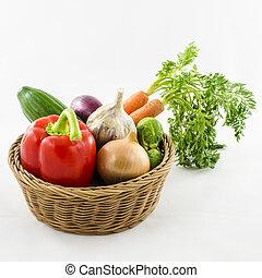 legumes, em, vime, basket.
