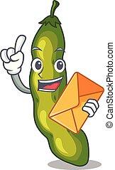 legumes, envelope, feijão, verde, vagem, caricatura