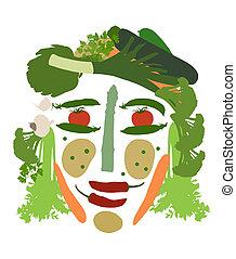 legumes, feito, cara fêmea