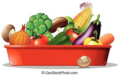legumes frescos, bandeja, vermelho