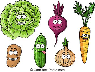 legumes frescos, caricatura, jogo