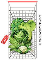 legumes frescos, carro shopping