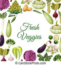 legumes frescos, cogumelo, e, feijões, cartaz, desenho