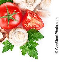 legumes frescos, com, folha verde