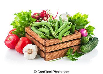 legumes frescos, com, verdes
