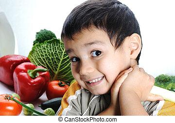 legumes frescos, criança
