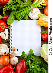 legumes frescos, dieta, experiência., abertos, caderno