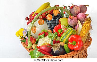 legumes frescos, em, cesta