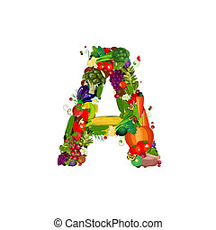 legumes frescos, letra, frutas