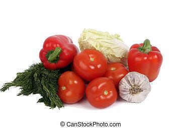 legumes frescos, ligado, a, fundo branco, isolado