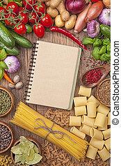 legumes frescos, livro, receita, em branco