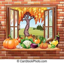 legumes frescos, sala, frutas