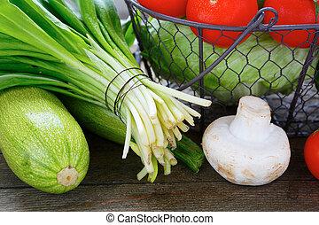 legumes frescos, tabela, e, em, cesta