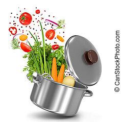 legumes frescos, voando, em, um, pote, ligado, um, isolado,...