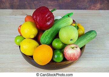 legumes, frondoso, consistindo, normalmente, salada, mistura, madeira, pequeno, legume verde, tipos, vário, copo