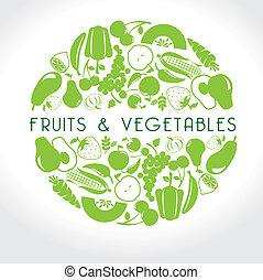legumes, frutas, etiqueta