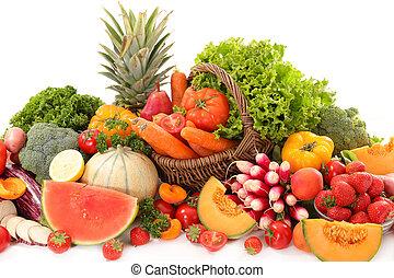 legumes, frutas sortidas