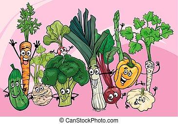 legumes, grupo, caricatura, ilustração