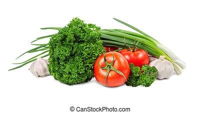 legumes, isolado, branco, fundo