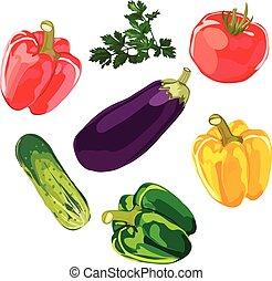 legumes, jogo, fundo, vector., branca