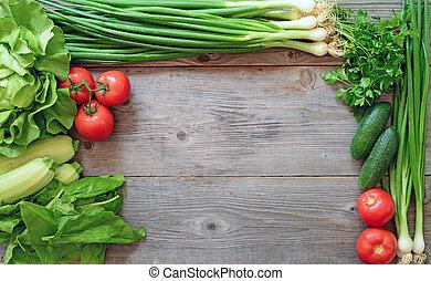 legumes, ligado, madeira, fundo