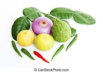 legumes, ligado, um, fundo branco