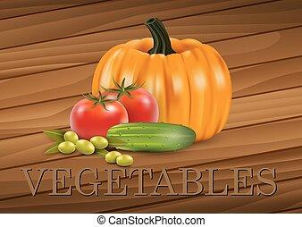 legumes, ligado, um, madeira, fundo