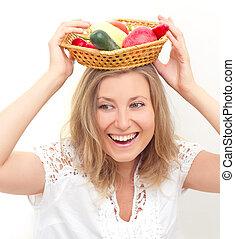 legumes, mulher, frutas