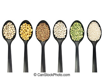 Legumes over spoons -  Misc legumes types over spoons