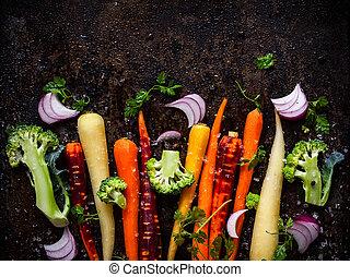 legumes, para, assando
