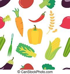 legumes, pattern., apartamento, jogo, de, cenoura, laminaria, pimenta, e, cereal.