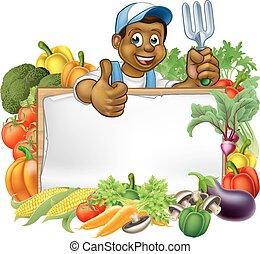 legumes, pretas, caricatura, jardineiro, sinal