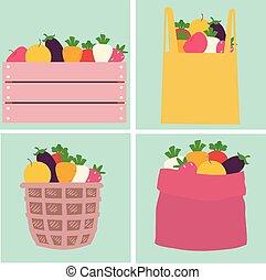 legumes, recipiente, mercado, ilustração, frutas